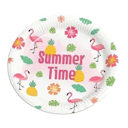 צלחות נייר גדולות מסיבת קיץ 10 יח'
