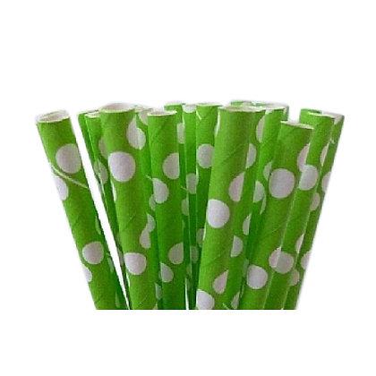 קשים מנייר בצבע ירוק ונקודות לבנות 25 יח'