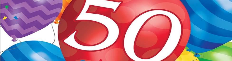 יום הולדת 50 מושלמת! אצלנו תמצאו צלחות יום הולדת 50, כוסות יום הולדת 50, מפיות יום הולדת 50, מפת שולחן יום הולדת 50, אביזרים לימי הולדת, ציוד לימי הולדת