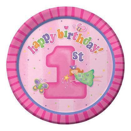 צלחות נייר גדולות יום הולדת שנה בנות 8 יח'
