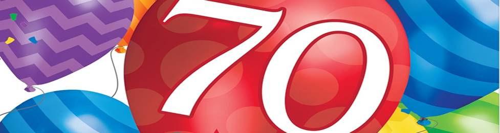 יום הולדת 70 מושלמת! אצלנו תמצאו צלחות יום הולדת 70, כוסות יום הולדת 70, מפיות יום הולדת 70, מפת שולחן יום הולדת 70, אביזרים לימי הולדת, ציוד לימי הולדת