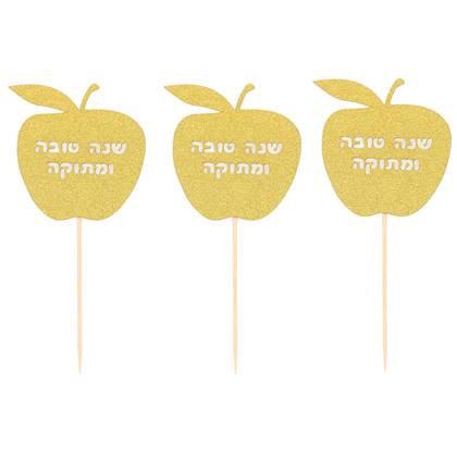 קיסמי קישוט תפוח זהב גליטר 6 יח'