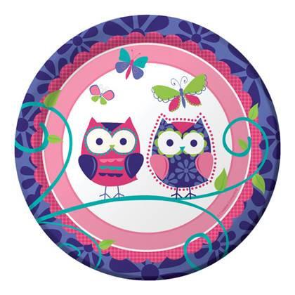 צלחות עוגה קטנות ינשופים 8 יח'
