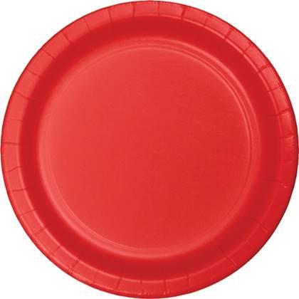 צלחות נייר גדולות חד פעמיות צבע אדום 20 יח'