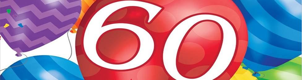 יום הולדת 60 מושלמת! אצלנו תמצאו צלחות יום הולדת 60, כוסות יום הולדת 60, מפיות יום הולדת 60, מפת שולחן יום הולדת 60, אביזרים לימי הולדת, ציוד לימי הולדת