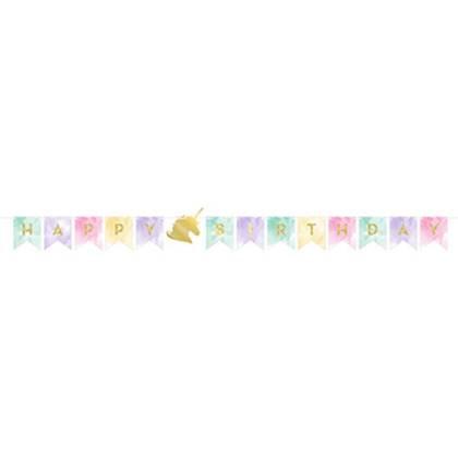 כרזת יום הולדת חד קרן פנטזי