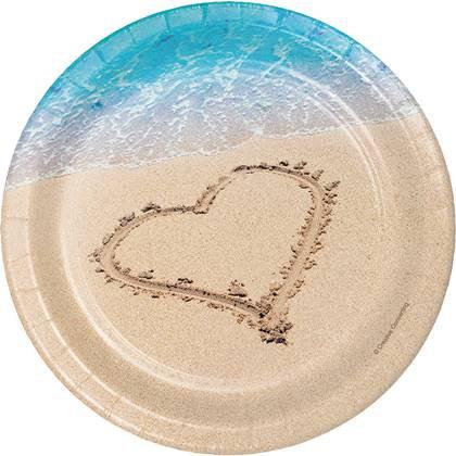 צלחות עוגה קטנות ים של אהבה 8 יח'