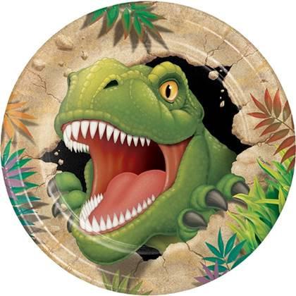 צלחות נייר גדולות דינוזאורים 8 יח'