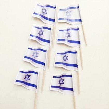 קיסמי קישוט דגל ישראל 50 יח'