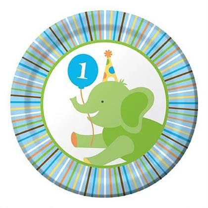 צלחות עוגה קטנות יום הולדת שנה חיות 8 יח'