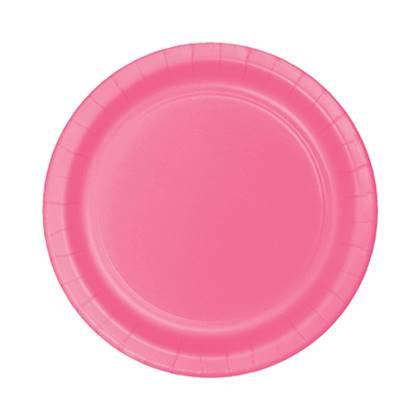 צלחות עוגה קטנות חד פעמיות צבע פוקסיה 24 יח'