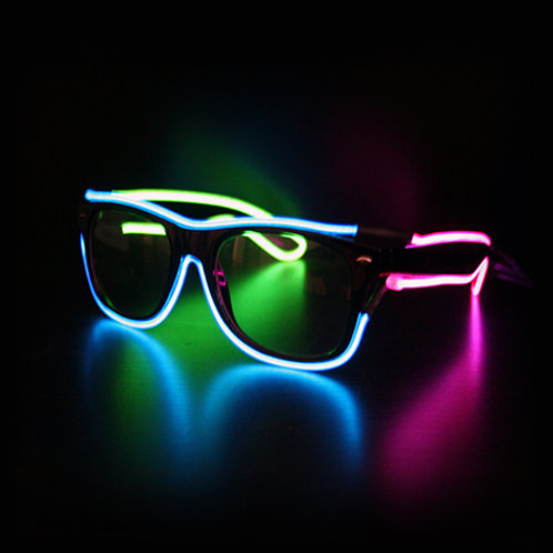 "The ""EL WIRE"" Non-Flip Up Tri-Color Wayfarer Diffraction Shades"