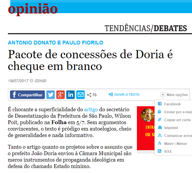 Líderes do PT SP dão a letra na Folha!