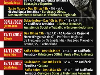 Orçamento 2018 *Agenda das audiências públicas