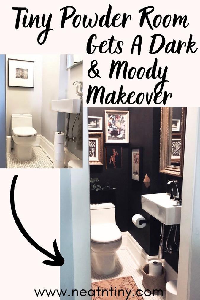 Tiny Powder Room Gets A Moody, Boho Makeover