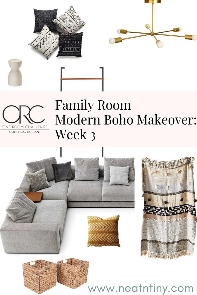 One Room Challenge - Week 3: Modern Boho Family Room
