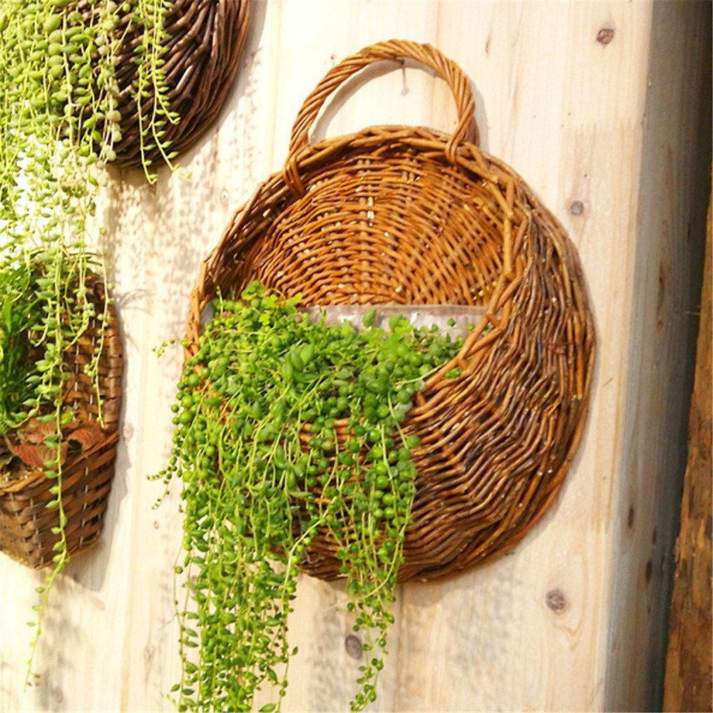 wicker plant hanger