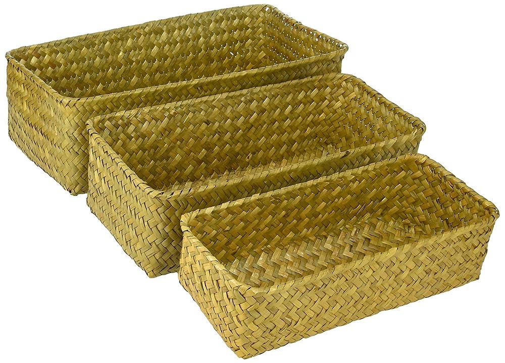 rectangular seagrass baskets