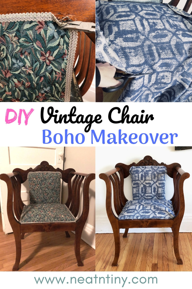 A Vintage Chair Gets A Boho (Nearly Zero Waste!) Update