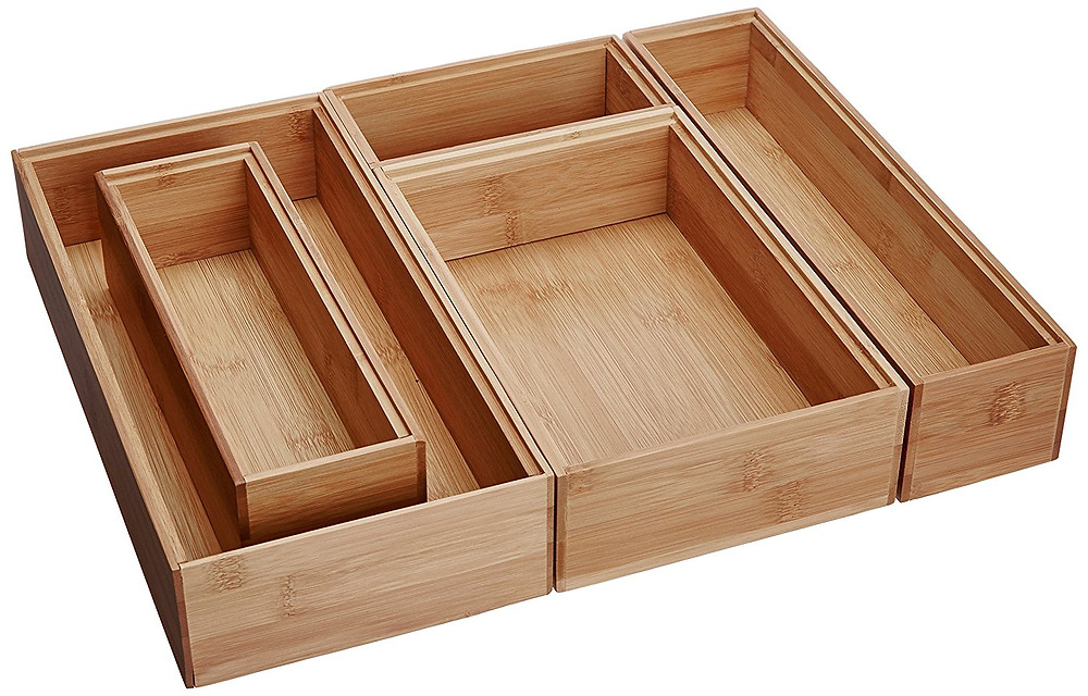 Bamboo cutlery drawer boxes