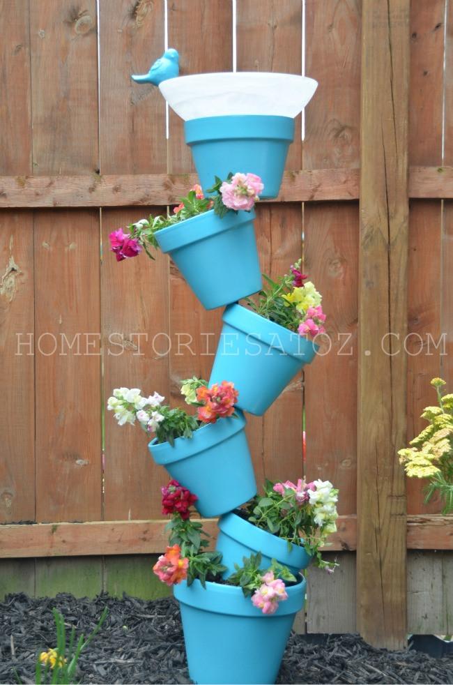 diy stacked planter birdbath