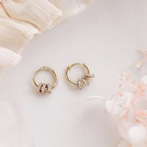 Pave ring charm hoop earrings