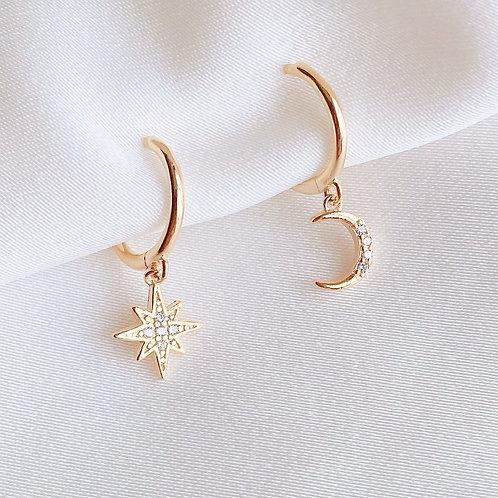 Starburst and Moon Huggies Earrings
