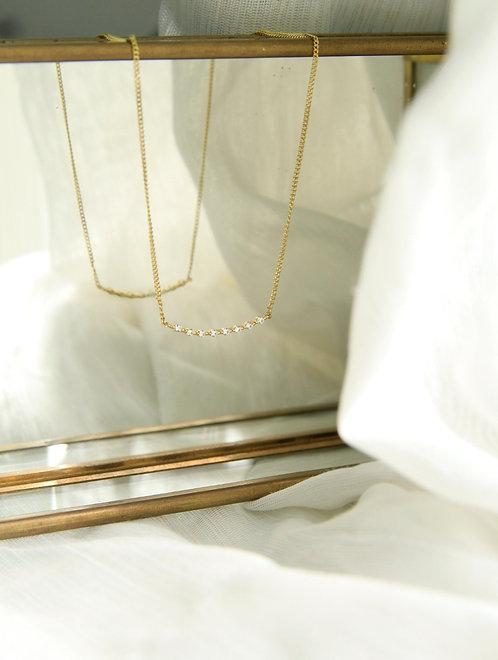 Pave curve bar necklace