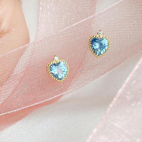 Blue heart Czs earrings