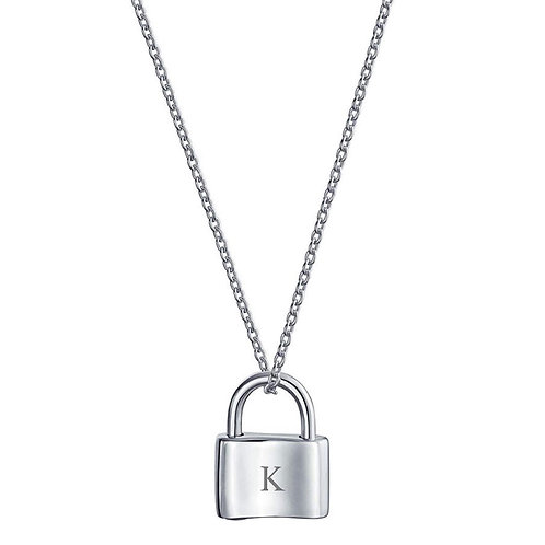 Dainty padlock with custom engraved necklace
