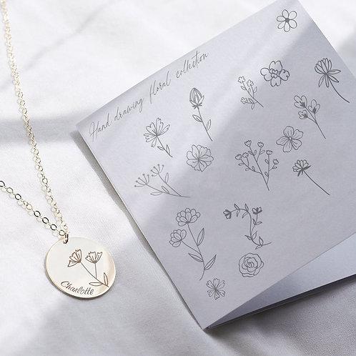 Floral Engrave Disc Necklace