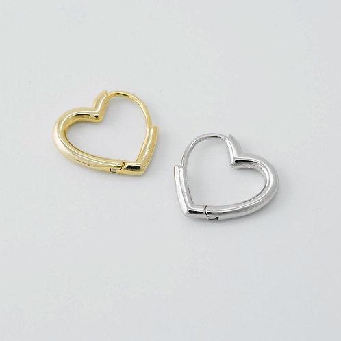 Small heart hoop earrings