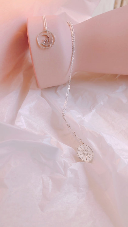 The sun and moon engraved necklace
