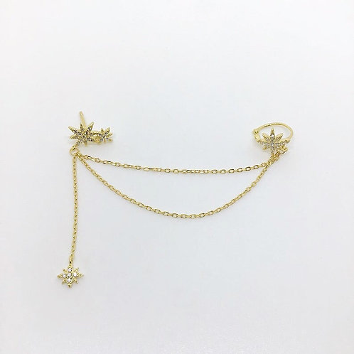 Stella double chain earcuff and earring
