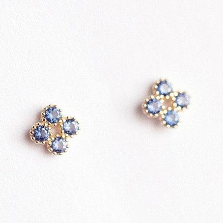 Blue Czs Clover earrings