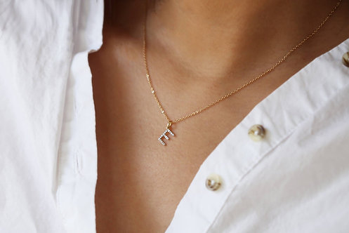 14K Solid Gold Pave Initial Necklace