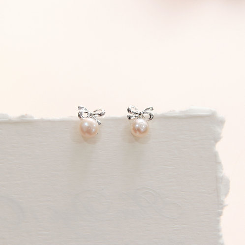Rose Gold Ribbon Pearl Earrings