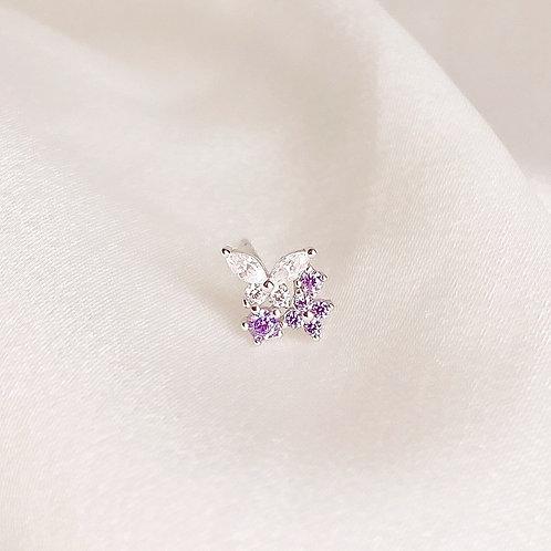 Purple flower and butterfly earrings