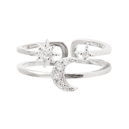 Stella and Moon double layer ring