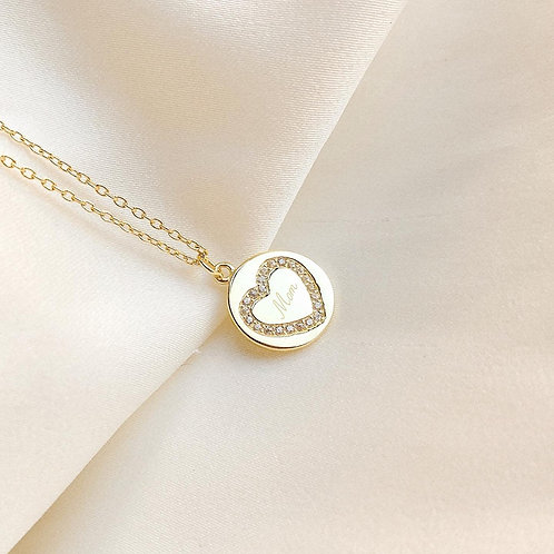 Custom engraved heart pave disc necklace