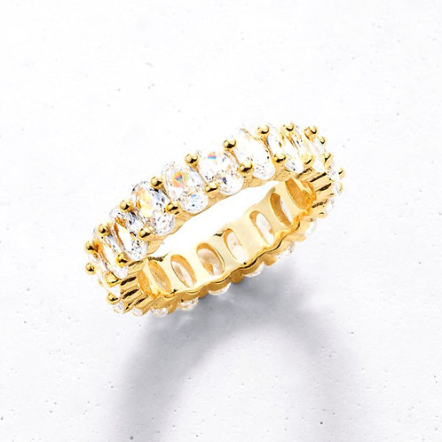 14K Solid Gold Oval CZ Baguette Eternity  Ring