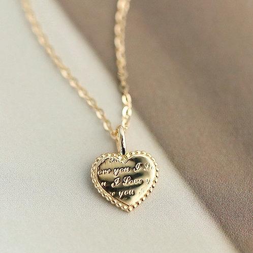 Iloveyou heart emgraved necklace