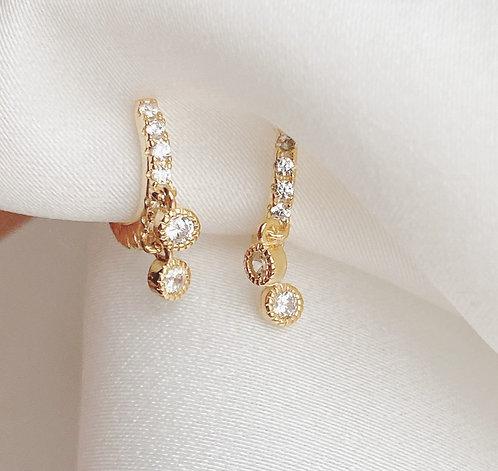 Solitaire Dangle Huggie Earrings