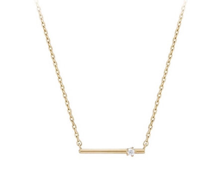 Bar necklace with white CZ