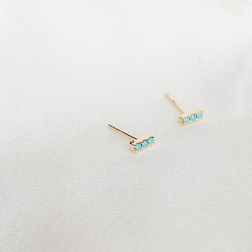 Bar Pave Turquoise earrings