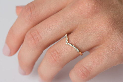 14K Solid Gold V Half Pave Ring