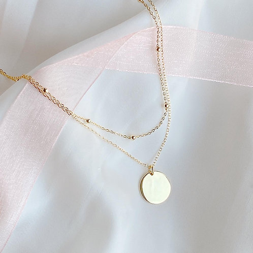 Double chain with disc necklace