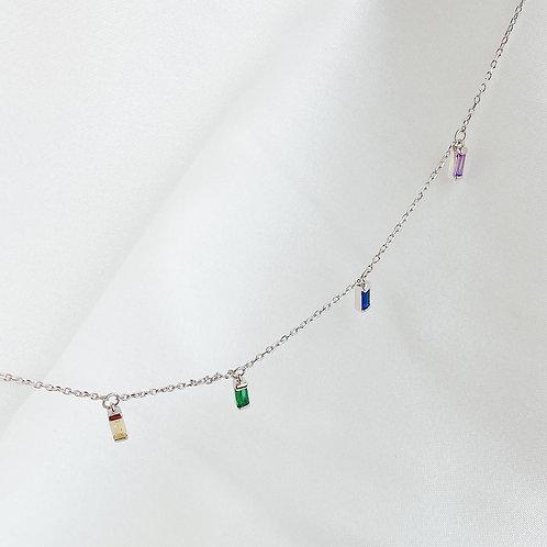 Color Czs baguette necklace
