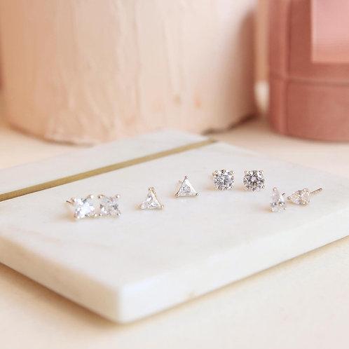Clear Cubic Zirconia Stud Earrings