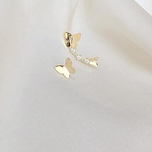 Duo butterfly climber earrings